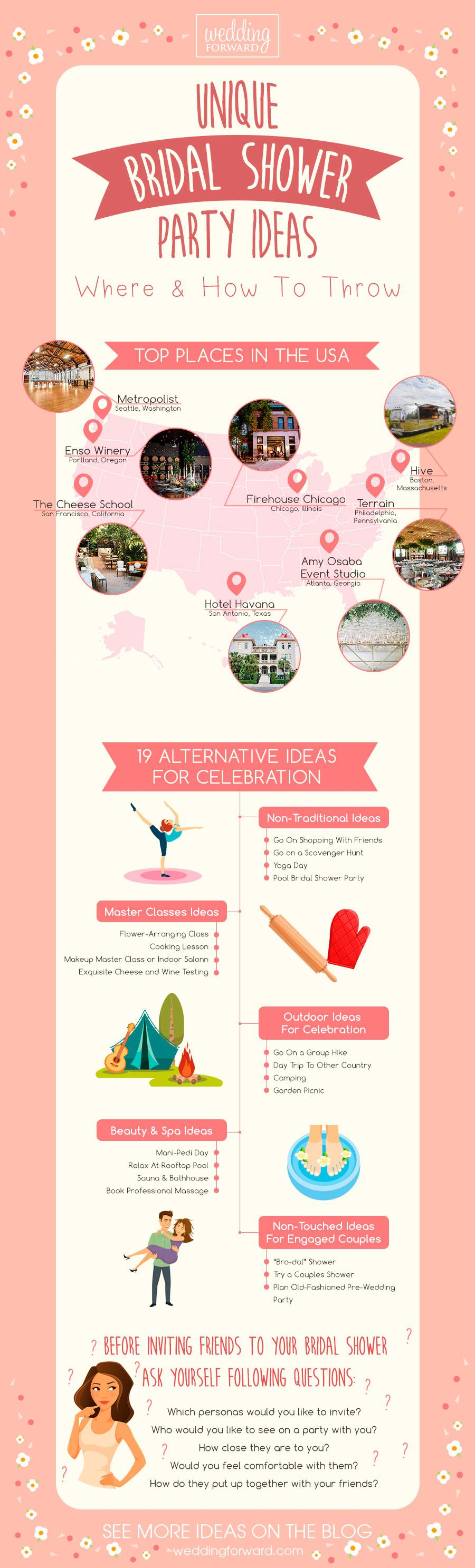 bridal shower alternatives unique party ideas infographics