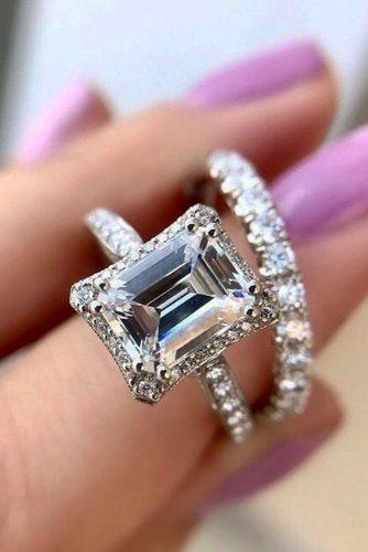emerald cut engagement rings halo diamond pave band bridal set