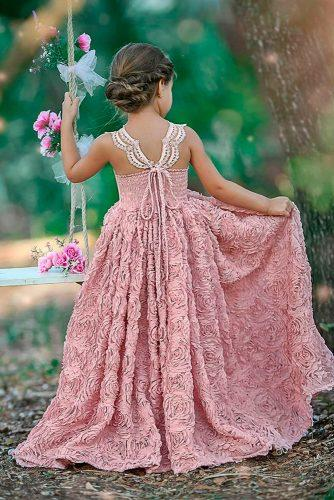 flower girl dresses blush lace backless floral applique with straps dollcakevintage