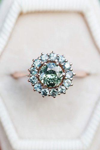 halo engagement rings floral halo gemstone round cut