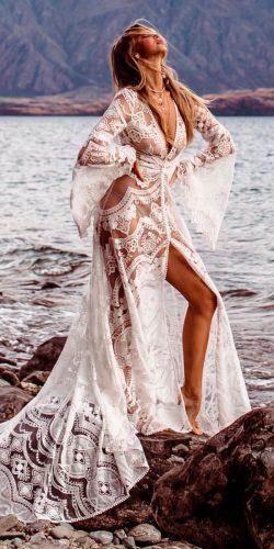 lace boho high slit deep v neckline long sleeve rue de seine wedding dresses