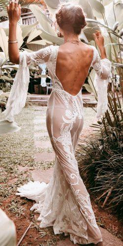 lace boho sheath low back long sleeve rue de seine wedding dresses