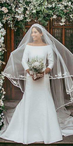 meghan markle a line open shoulders simple with long sleeves modern wedding dresses shaunafay designer