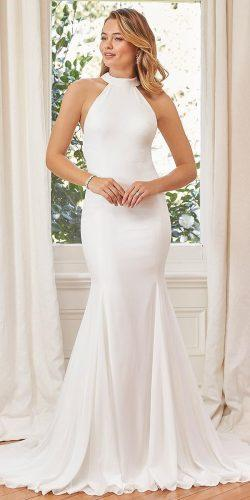 meghan markle wedding dresses fit and flare halter neckline simple evening gown mon cheri