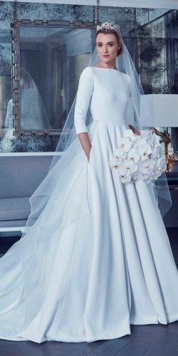 meghan markle wedding dresses royal 2019 long sleeve ball gown simple fashion modern romona keveza