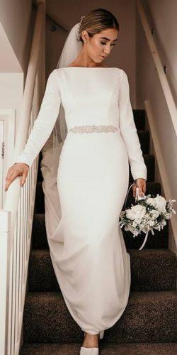 meghan markle wedding dresses sheath with long sleeves simple beaded belt mikaellabridal