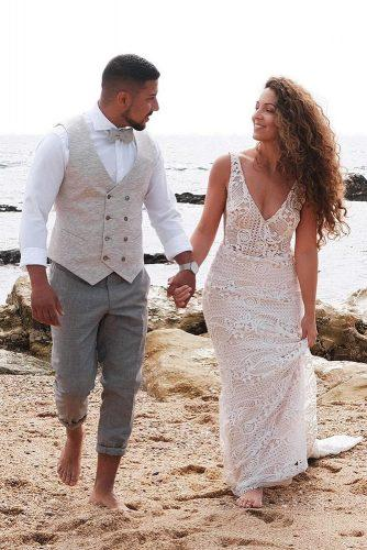 mens wedding attire vest with t shirt beach bow tie goddessbynature