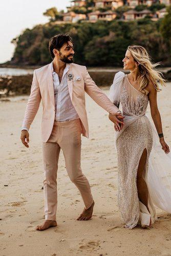 mens wedding attire with jacket t shirt for beach chrisandruth