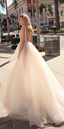 muse by berta wedding dresses 2019 blush sleeveless deep v neck heavily embellished bodice ball gown low v back