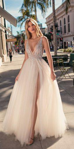 muse by berta wedding dresses 2019 sleeveless deep v neck heavily embellished bodice ball gown
