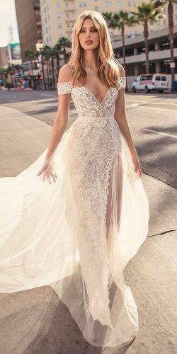 muse by berta wedding dresses 2019 vintage blush spaghetti strap cold shoulder v neck full embellishment romantic a line