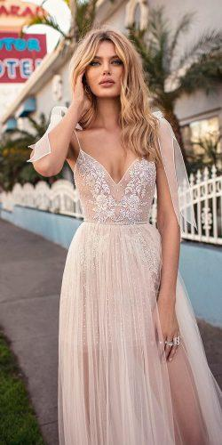 muse by berta wedding dresses 2019 vintage sleeveless spaghetti strap blush heavily embellished bodice high slit a line