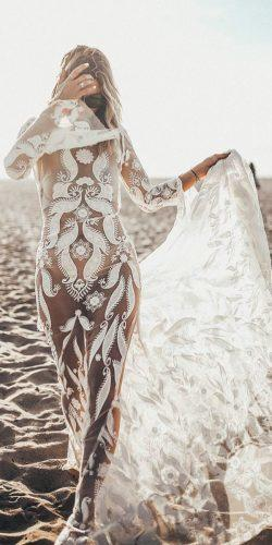 rue de seine wedding dresses boho beach lace long sleeve sheath