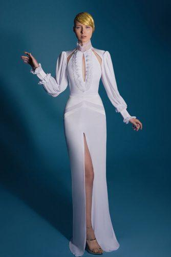 sheath long sleeves high neck white with slit lior charchy victorian wedding dresses