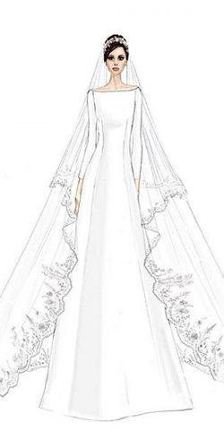 simple a line open shoulders with long sleeve bridal veil meghan markle wedding dresses givenchy official