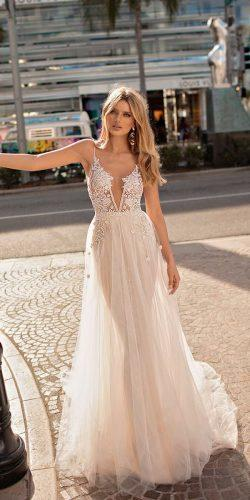spaghetti strap deep v neck heavily embellished bodice romantic sexy blush muse by berta wedding dresses 2019