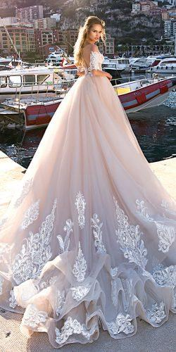 tina valerdi ball gown blush lace illusion back with detached sleeves 2019 wedding sharlotta