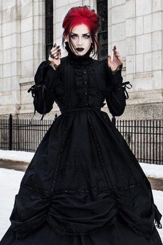 a5b4a8dc3c ... sheath with fur gloves black modern. Pin ItFacebook. victorian wedding  dresses a line gothic with long sleeves high neck devil