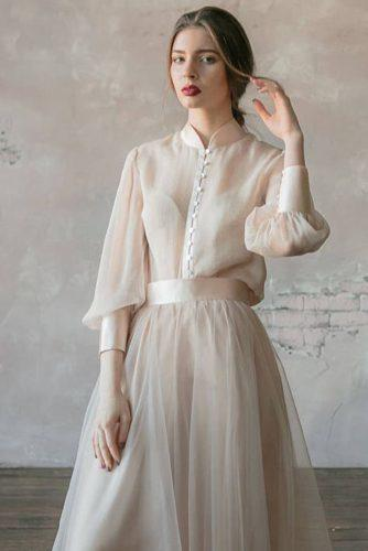 victorian wedding dresses a line hihg neck with long sleeves simple