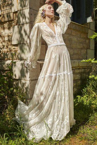 victorian wedding dresses a line with long sleeves v neckline lace