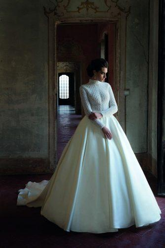 victorian wedding dresses classy ball gown high neck with long sleeves lace