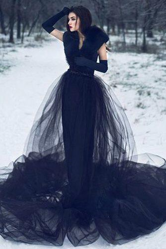 victorian wedding dresses gothic sheath with fur gloves black modern