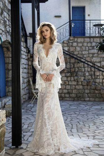 victorian wedding dresses sheath v neckline with long sleeves full lace