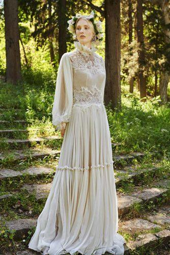 victorian wedding dresses with long sleeves high neck lace