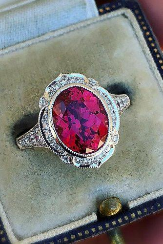 vintage engagement rings ruby oval cut halo
