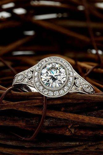 vintage engagement rings white gold round cut halo diamond