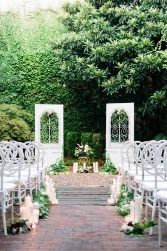 wedding aisle decoration ideas outdoor with geometry gold décor greenery and candles treebird photography