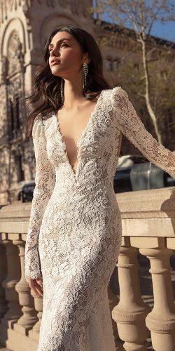 wedding dresses 2018 sexy plunging neckline with long sleeves full lace julievino