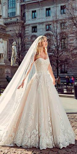 wedding dresses 2019 a line lace strapless sweetheart neck with veil eddyk
