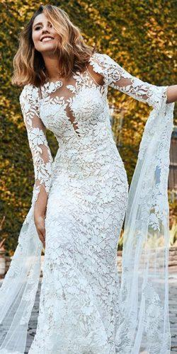 wedding dresses 2019 mermaid lace illusion plunge neckline long sleeves pronovias