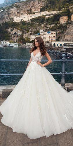 wedding dresses 2019 romantic ball gown v neckline lace with straps lapetra