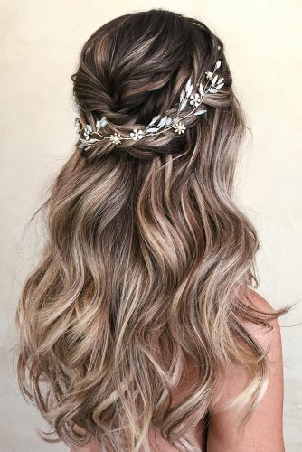 wedding hair half up elegant long ombre curls swept with braid and halo caraclynebridal