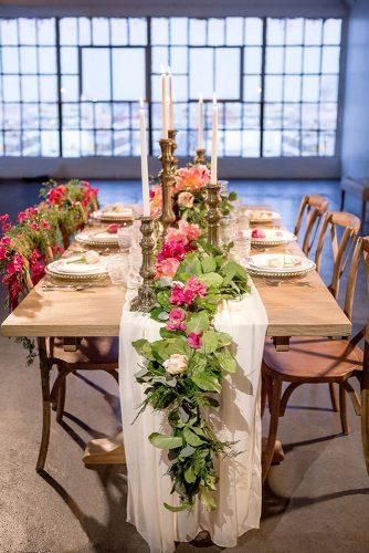 wedding loft décor tablerunner with flowers love & you studios