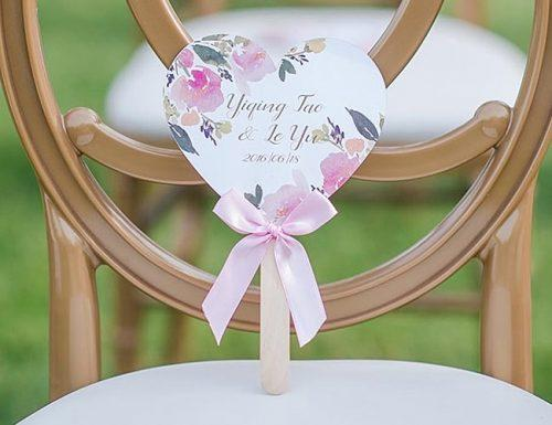 wedding program fans romantic style heart design