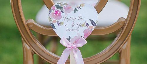 wedding program fans rustic style