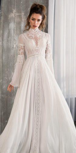 a line lace high turtle neck long sleeve boho riki dalal wedding dresses 2019