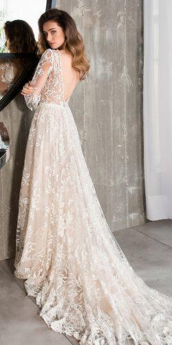 a line lace low back long sleeve with train riki dalal wedding dresses 2019