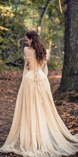 a line lace off the shoulder with corset medieval wedding dresses vintage cyril sonigo
