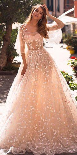 a line wedding dresses with sleeves blush floral appliques ange etoiles