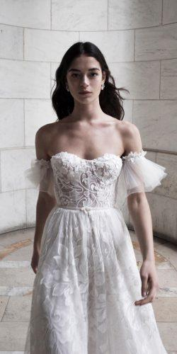 alon livne white a line lace off the shoulder sweetheart neck romantic wedding dresses layla