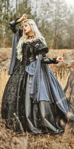 black medieval wedding dresses ball gown gothic off the shoulder lace long sleeves romanticthreads