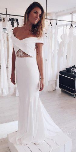 casual wedding dresses simple sheath off the shoulder rime arodaky