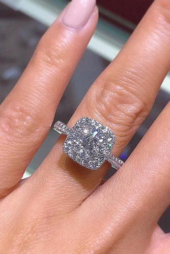 cushion cut engagement rings halo diamond pave band