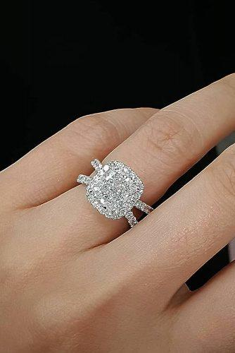 cushion cut engagement rings halo pave band split diamond
