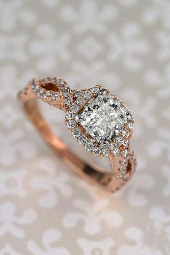 cushion cut engagement rings rose gold twisted band halo