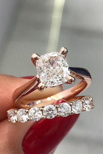 cushion cut engagement rings rose gold wedding set solitaire